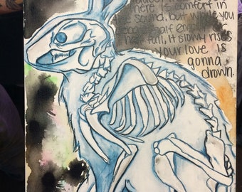 Rabbit skeleton watercolor and ink death cab for cutie lyrics print