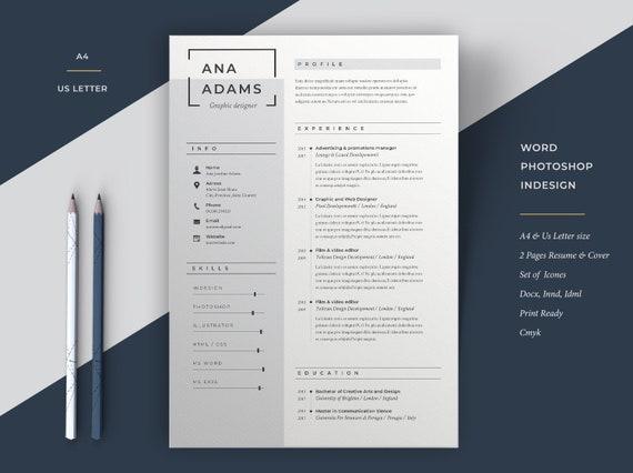 Resume Template Minimal Resume Resume Cv Template Word Etsy