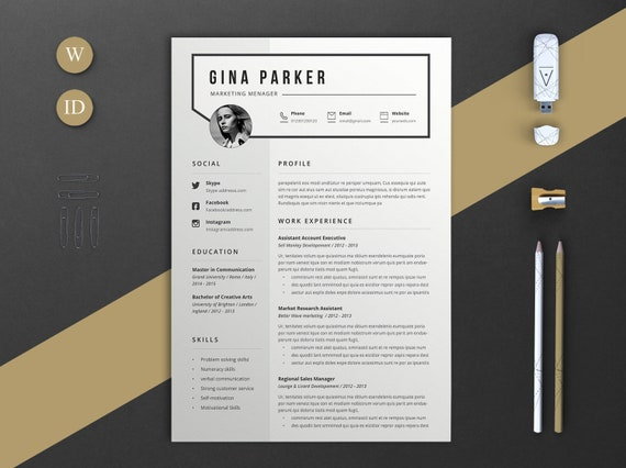 Resume Template Word Resume Lebenslauf Vorlage 2 Pages Etsy