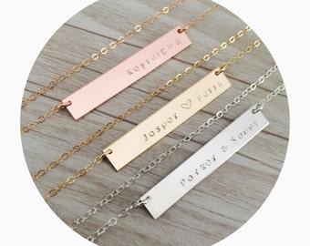 Name Bar Necklace | Custom Bar Name Necklace | Silver Custom Name Necklace | Gold Name Necklace | Name Plate Necklace | Kids Name Necklace
