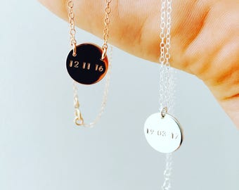 Date Necklace   Custom Date Necklace   Initial Necklace   Silver Date Necklace  Birthdate Necklace   Engraved Necklace   DOB Necklace