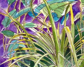 Original Watercolour Painting - Tropical Grasses and Leaves