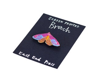 Blue Moth Wooden Screen Printed Brooch - pin badge
