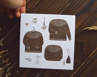 little sweater. postcard // cozy postcard /knitting postcard / square postcard