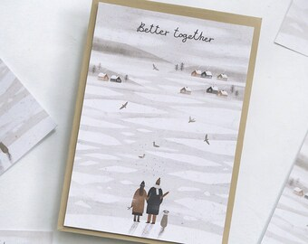 better together. postcard // love postcard. winter postcard. romantic postcard.