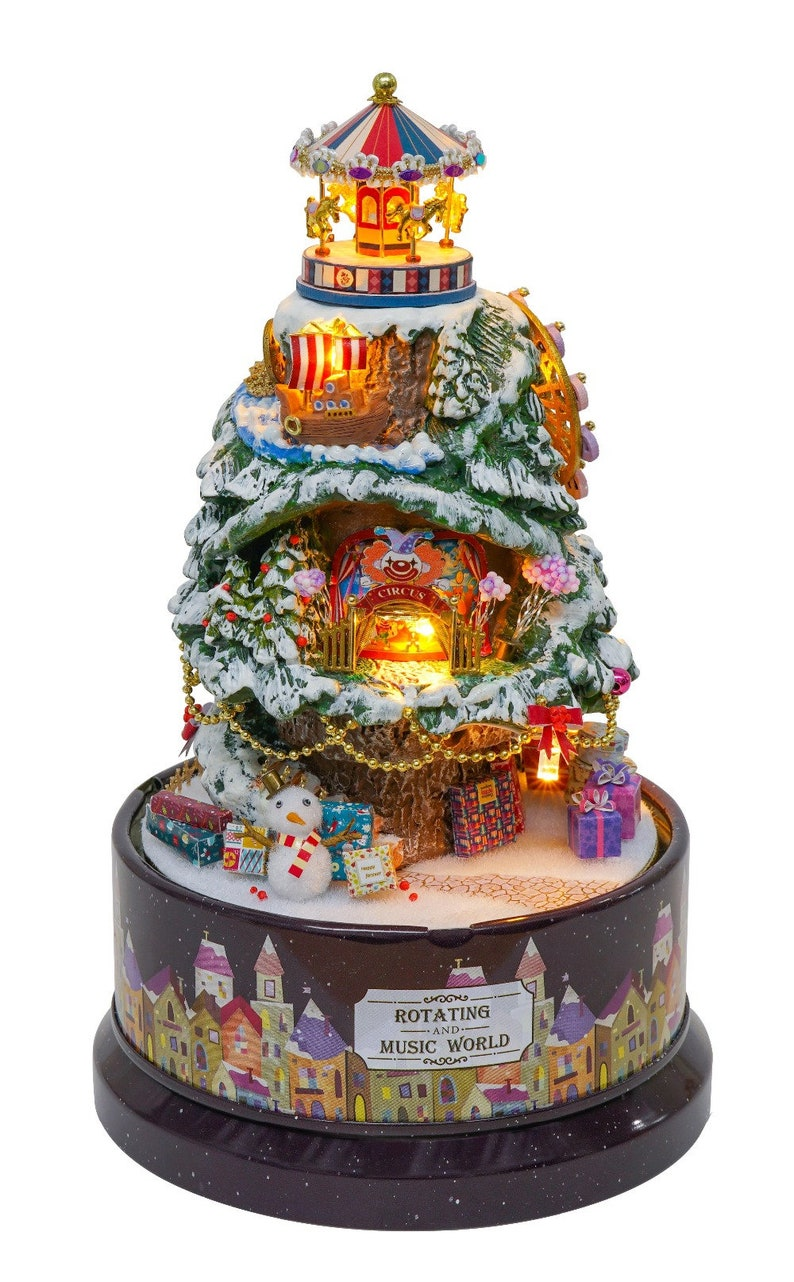 Christmas Tree Wonderland Rotational Musical Box Dollhouse Full DIY Kit  with Domed Dust Cover, L E D  Lights and Music Box - FREE SHIPPING