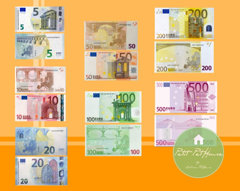 Printable 1:4 Miniature Scale Euro Money Banknote Bills (Double Sided) for  MSD, BJDs, Toy Money, Kid's Learning Tool DIY