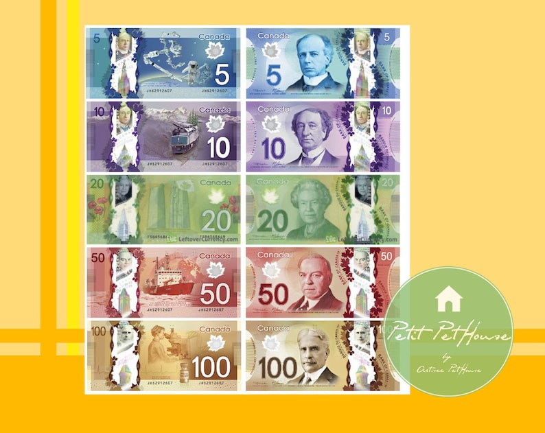 photo relating to Play Dollar Bills Printable identified as Printable 1:6 Miniature Scale Canadian Greenback Banknote Expenses (Double Sided) for YoSD, Blythe, Barbie, Toy Financial Participate in Scale Do it yourself