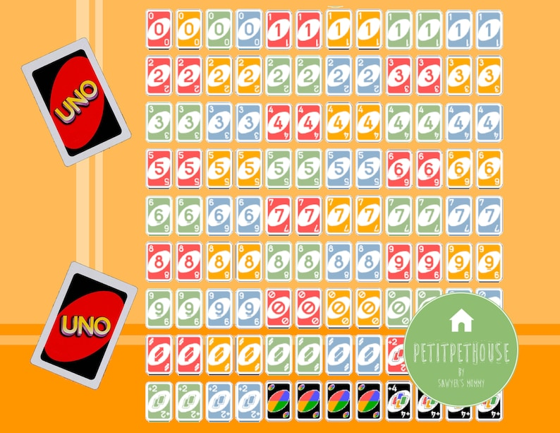 printable 14 miniature scale uno card game 108 cards