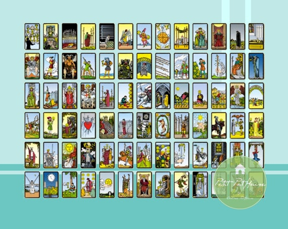 Printable 1 12 Miniature Scale Deck Of Tarot Cards 78 Cards For Dollhouses Nendoroid Collectible Diy Crafts