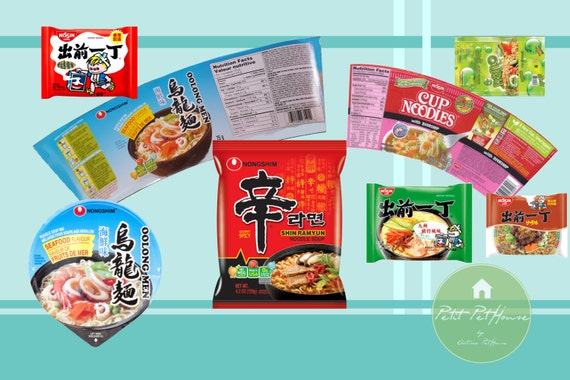 Printable 1:12 Miniature Ramen Packaging Templates (10 Types) for DIY