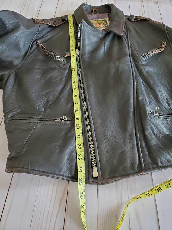 Vintage Avirex Old Leather Flight Jacket 1988 Dar… - image 10