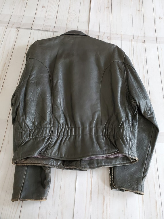 Vintage Avirex Old Leather Flight Jacket 1988 Dar… - image 3