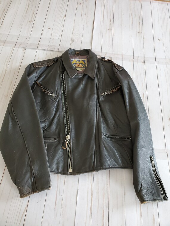 Vintage Avirex Old Leather Flight Jacket 1988 Dar… - image 2