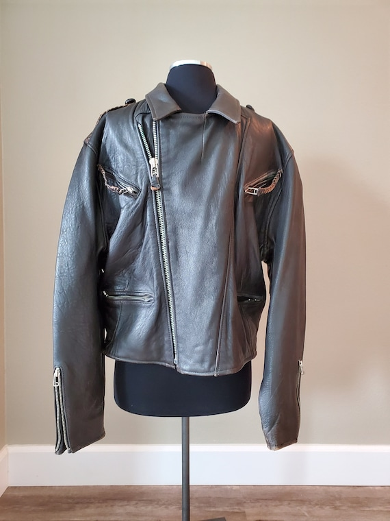 Vintage Avirex Old Leather Flight Jacket 1988 Dar… - image 1