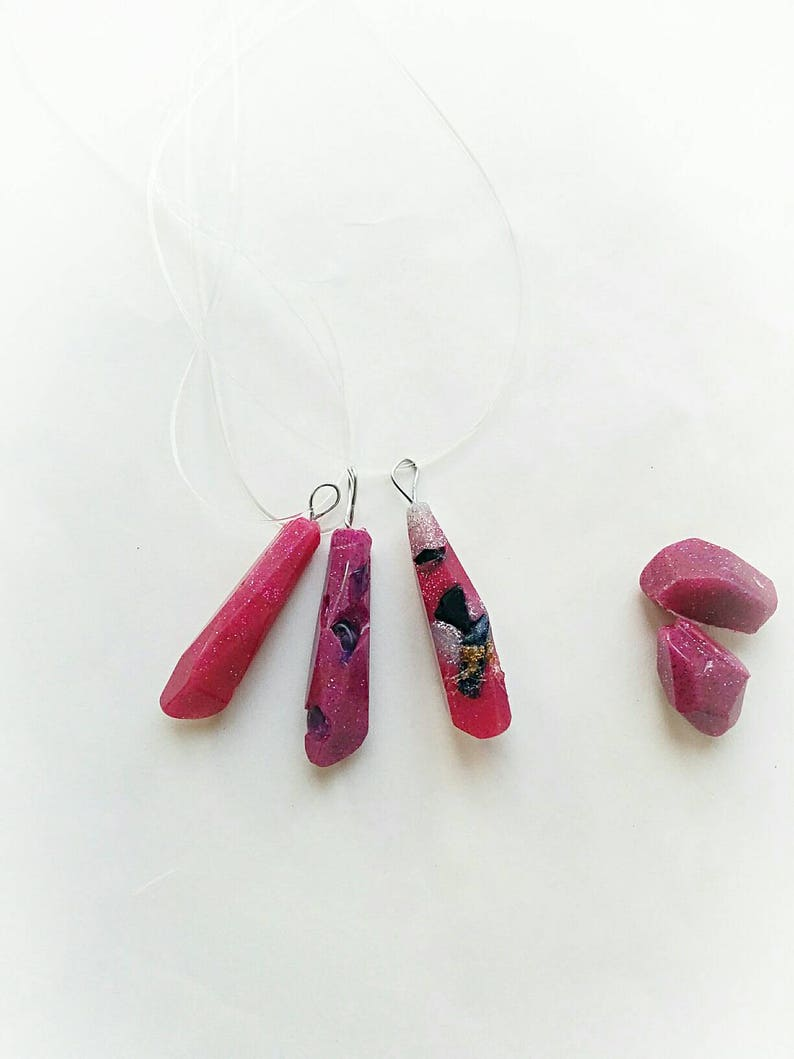 Bohemian pink silicone crystal necklace boho crystal image 0