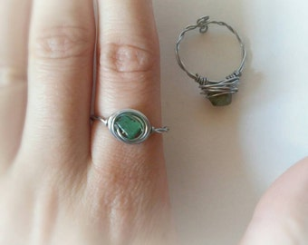 Aventurine stone ring set, boho ring, wire wrapped ring, hippie ring, adjustable ring, boho adjustable ring, hippie green stone ring, boho