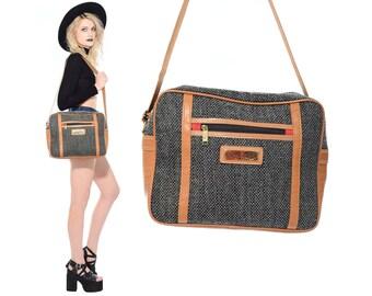 19577baf77ea Vintage 80s 90s Oscar De La Renta TWEED Faux Leather Travel Luggage  Carry-On Shoulder Weekender Overnight Bag Purse