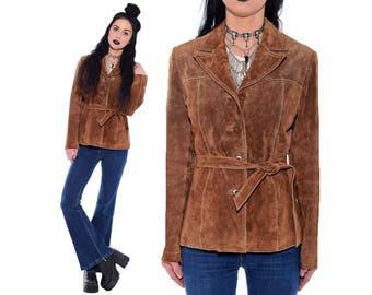 221314054e7 Vintage Brown SUEDE Leather Hippie Boho Mod Belted 90s 70s Trench Spy  Jacket Coat Size S