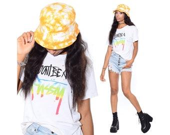 9112cc517032f Vintage 90s TIE DYED Raver Club-Kid Skater Grunge Festival Hip-Hop Beach Bucket  Hat