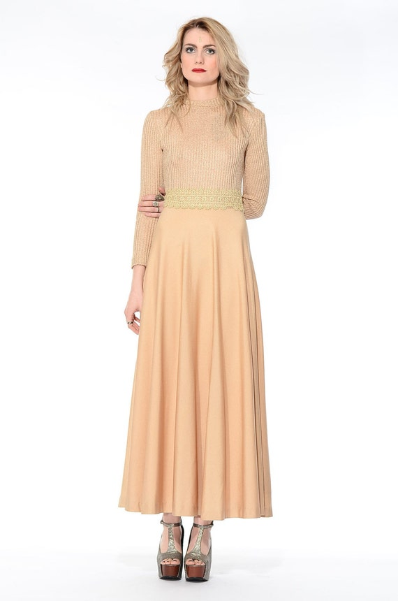 Sparkle Maxi Cocktail vtg Dress 70s Grecian Boho Knit Gold METALLIC Hippie S Gown Vintage wqStZaIx