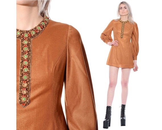 70s Beaded Bejeweled Micro Boho Dress Cocktail Mini Go 60s S Size Vintage Mod Party 4L3j5AR