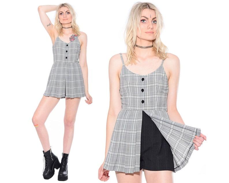 7544edc6325 Vintage 90s PLAID Grunge Schoolgirl Clueless Preppy Mini Dress