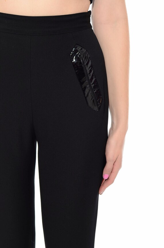 80s S Vintage Stirrup Tapered Trouser PVC High JACQUES Pants MOLKO Black Leg Size Wool Paris Waist Minimalist 4qr1qdaw