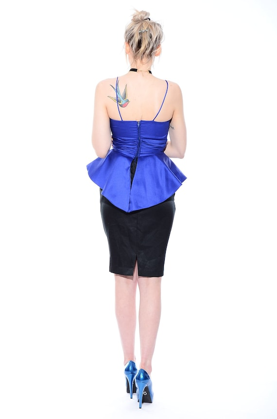 ORIGAMI Party Garde Peplum Avant Wiggle 90s XS Cocktail S Dress Waist Sculptural Vintage 80s qztIY
