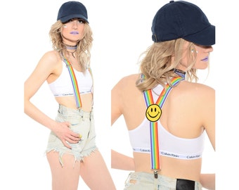 Vintage 80s 90s RAINBOW Striped Smiley Face Club-Kid Rave Stretchy Suspenders Braces Belt *Free Shipping U.S.* vtg
