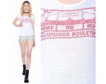 Vintage 70s HOLLYWOOD BOULEVARD Thin Festival Rock N Roll Hippie Fitted Ringer T-Shirt Top S M *Free Shipping U.S.* vtg