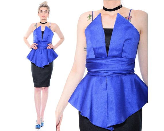 Waist Sculptural Cocktail Wiggle Vintage Avant Garde Party Dress XS 80s S 90s Peplum ORIGAMI anggq0Xw8