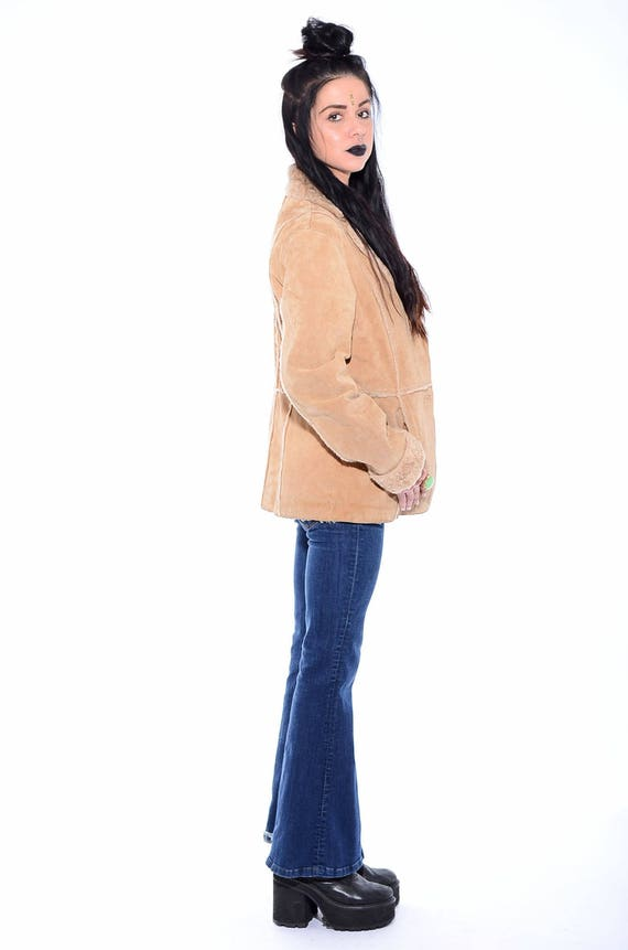 Plush Boho Vintage 90s Hippie Almost Sherpa Jacket Faux Famous Coat M Trim Fur SUEDE Size qHzqI