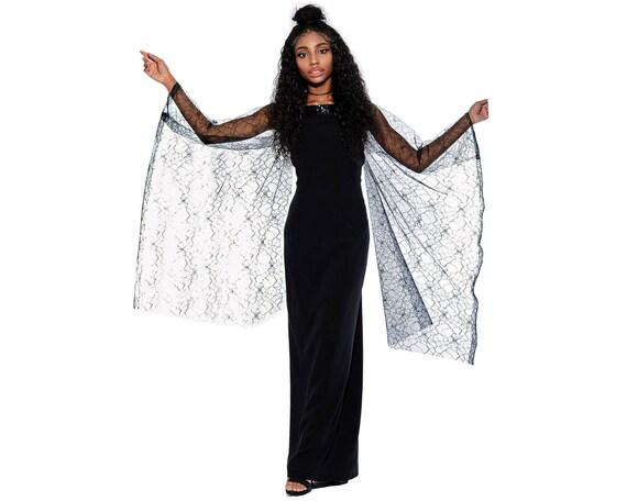 Vintage 90s Black Sheer Mesh Bell ANGEL SLEEVES Be