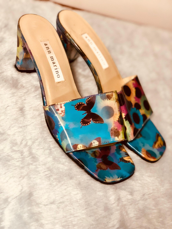 Vintage Heels 90s Lenticular HOLOGRAPHIC Floral BUTTERFLY Rave Club-Kid Cyber Heels Vintage Slip-On Shoes Sandals 6 f7f802