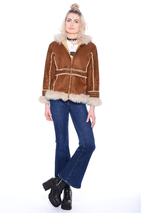Jacket Almost Hippie Suede Vintage S vtg Famous Princess 90s 70s Boho Faux Trim Lane Coat HOODED Fur Penny Plush Rockstar XS xzIpqawIn