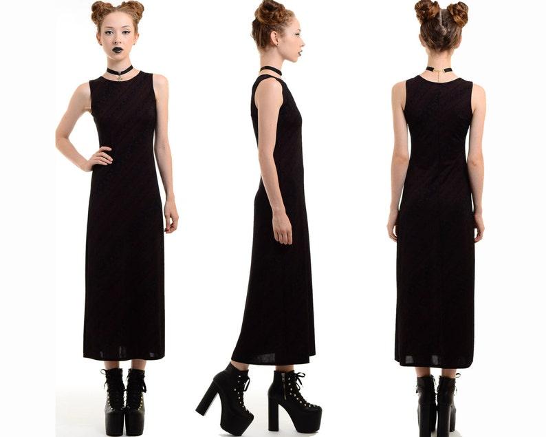 4396a298ab250 Vintage 90s Black FLORAL PRINT Bodycon Maxi Dress Goth Grunge | Etsy