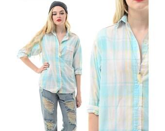 Vintage 70s 80s PLAID Pastel Soft Thin Preppy Grunge Boyfriend Button-Down Shirt Top