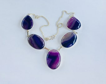 """Agate and Sterling Silver Necklace, Pink and Purple Druzy Agates, 22"""" OOAK"""