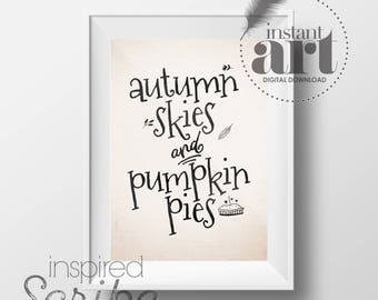 Autumn Skies and Pumpkin Pies fall printable