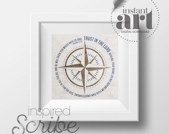 Trust in the Lord Proverbs Nautical Compass Instant Digital Print