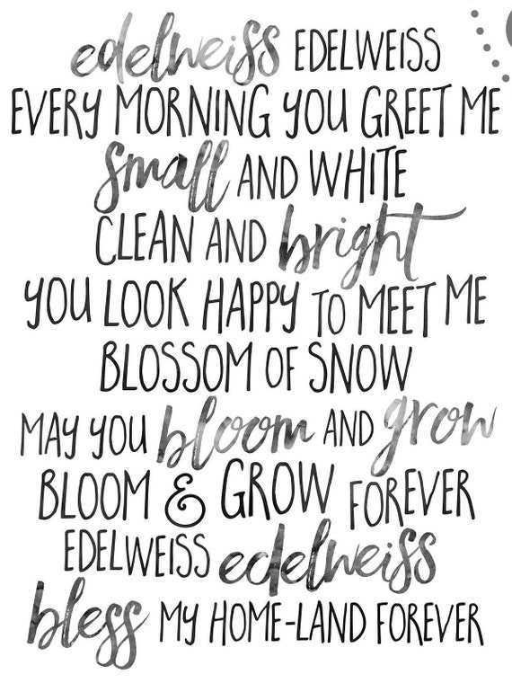 Edelweiss lyrics from sound of music instant download etsy like this item m4hsunfo
