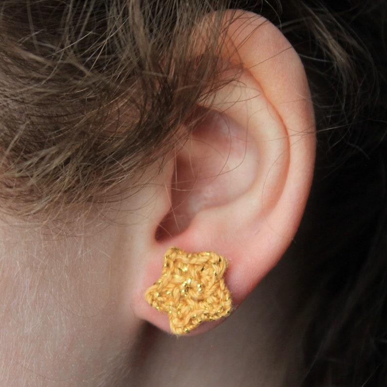 Sparkly Shiny Gold Star Crochet Stud Earrings