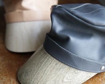 Leather Cap with Veneer peak