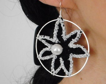 Earrings, crochet earrings,  handmade earrings, lightweight earrings, crochet jewelry