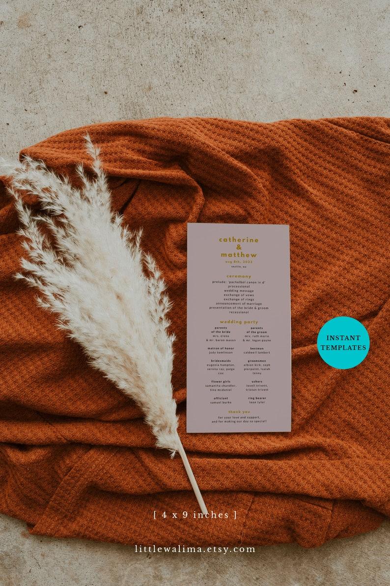 Canva Editable Wedding Template Minimalist Wedding Ceremony Digital Download Dusty Pink Program Template