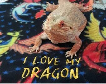 Bearded Dragon I LOVE MY DRAGON Ubby blanket and/or Hammock