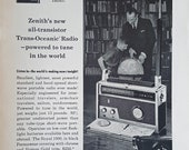1959 ZENITH Ad Transistor radio Advertisement Wall Home Decor quot Zenith 39 s new all-tranistor Trans-Oceanic Radio-powered to tune in the world quot
