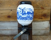 Vintage blue and white coffee grinder Wall mount coffee grinder Blue and white ceramic coffee grinder Dutch windmill