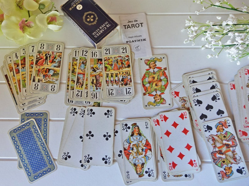Vintage tarot cards Vintage playing cards Fortune telling cards Vintage deck
